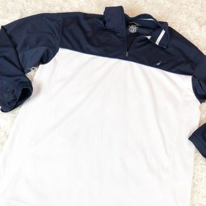 Nautica Navy White Colorblock Athletic Pullover